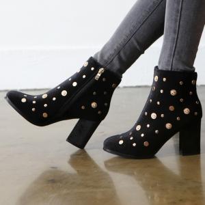 Women's Coin Dot Studs Zip Chunky High Heel Velvet Ankle Boots