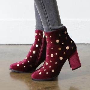 Women's Coin Dot Studs Zip Chunky High Heel Wine Velvet Ankle Boots