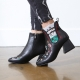 Women's Round Toe Side Zip Chunky Med Heel Floral Embroidered Ankle Boots