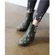 Women's Green Round Toe Side Zip Chunky Med Heel Floral Embroidered Ankle Boots