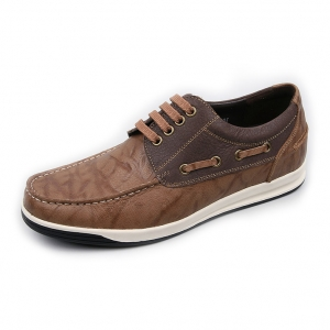 Men's Brown Increase Height Hidden Insole Boat Shoes