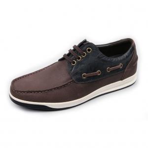 Men's Dark Brown Increase Height Hidden Insole Boat Shoes