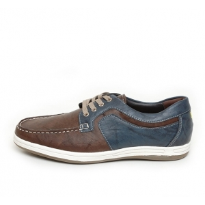 Men's Brown Round Toe Two Tone Lace Up Casual Shoes