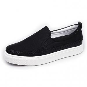 Men's White Platform Slip On Fabric Loafer Sneakers