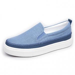 Men's White Platform Slip On Fabric Blue Loafer Sneakers