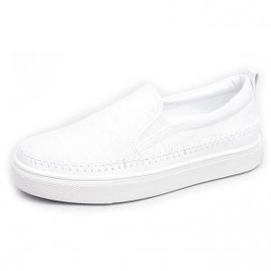 Men's White Platform Slip On Fabric white Loafer Sneakers