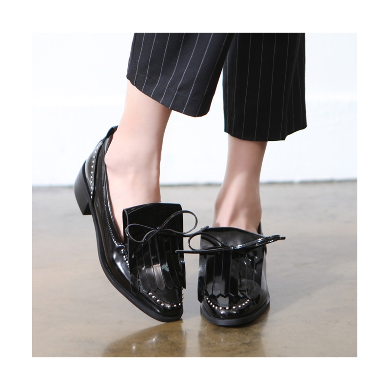 Micro Stud Fringe Loafer Shoes for womens