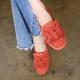 Women's Orange Double Layer Fringe Tassel Low Heel Loafer Shoes