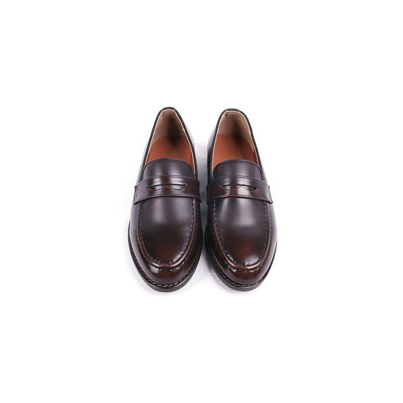 Men's Apron Toe Brown Synthetic Leather Penny Loafers Shoes