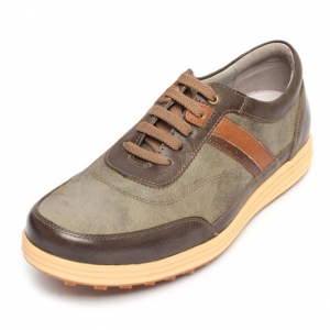 men's round toe khaki leather rubber outsole outdoor golf