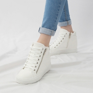 8e70d20716f Women's Hidden Wedge Insole High Top White Fashion Sneakers Shoes