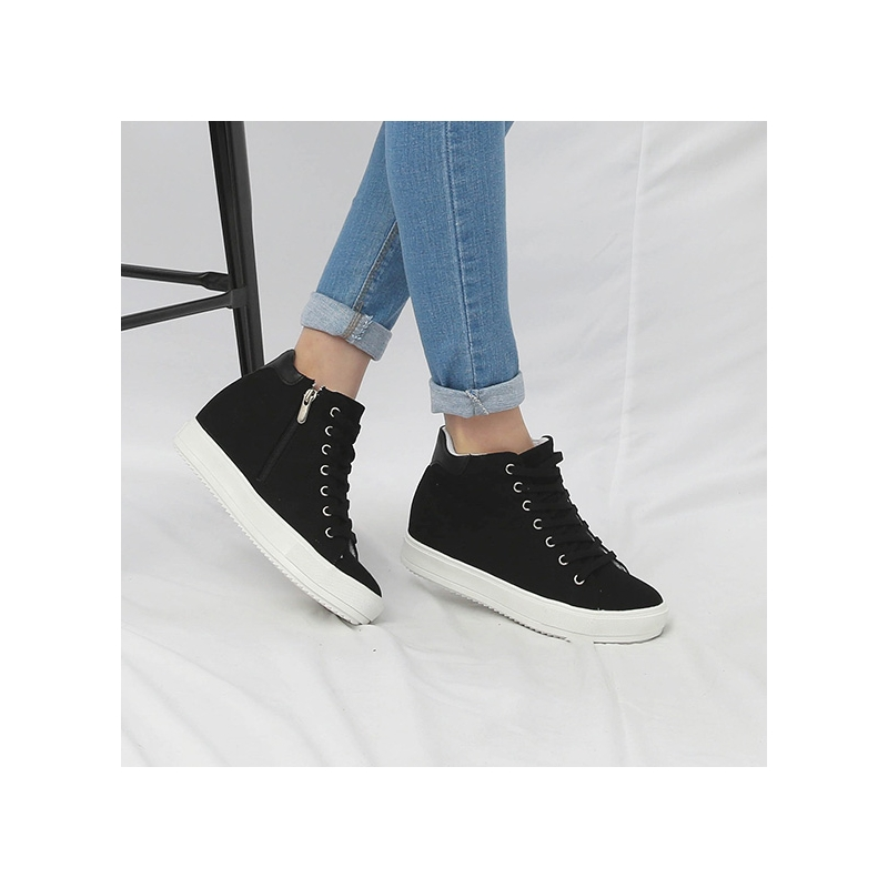 7a564f9e55f7 Women s Hidden Wedge Insole High Top Black Fabric Fashion Sneakers