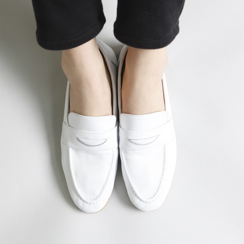 Women's Apron Toe White Leather Penny Loafers Shoes