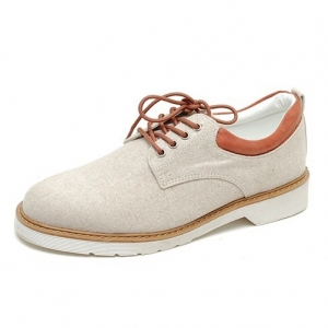 men's round toe white sole lace up beige fabric casual shoes