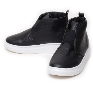 e7e8f8255d6136 Women s Cross Elastic Band Black Synthetic Leather Med Wedge Heel High Top  Sneakers