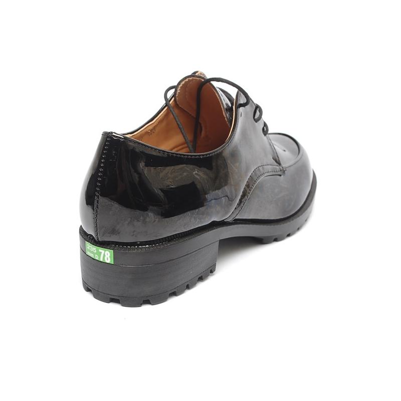 b8a1938314 Women's Apron Toe Glossy Black Lace Up Platform Low Heel Oxfords Shoes