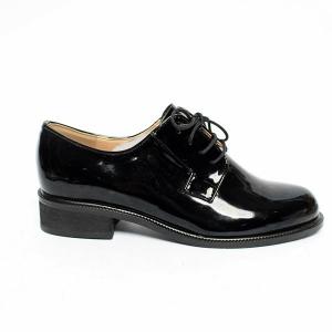 39482833a58d0 Women's Lace Up Platform Low Block Heel Oxfords Glossy Black Shoes