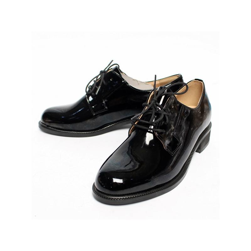 514d5893e4901c Women's Lace Up Platform Low Block Heel Oxfords Glossy Black Shoes