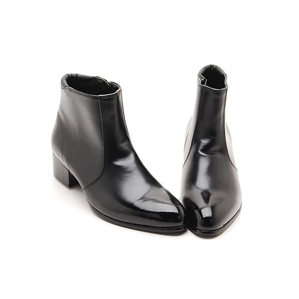 Men S Black Synthetic Leather Side Zip ankle Boots
