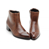 Mens brown synthetic Leather side zipper Ankle boots made in KOREA