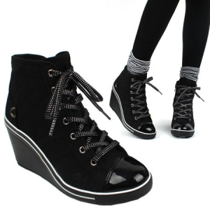 Black High wedge heel sneakers