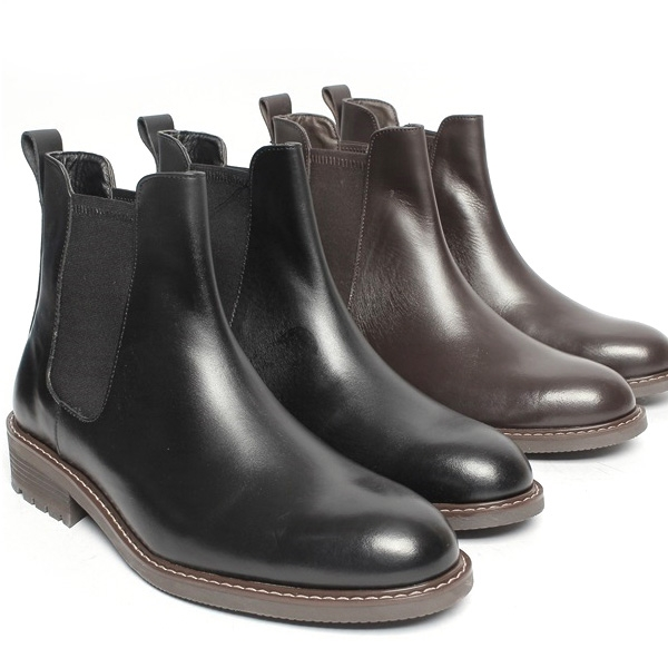 Men's Round Toe Brown Leather Side gore